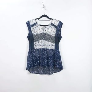 Anthro Maeve Blue Lace Evangeline Peplum Top